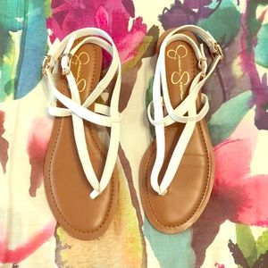 White and brown Jessica Simpson sandals in size 8.